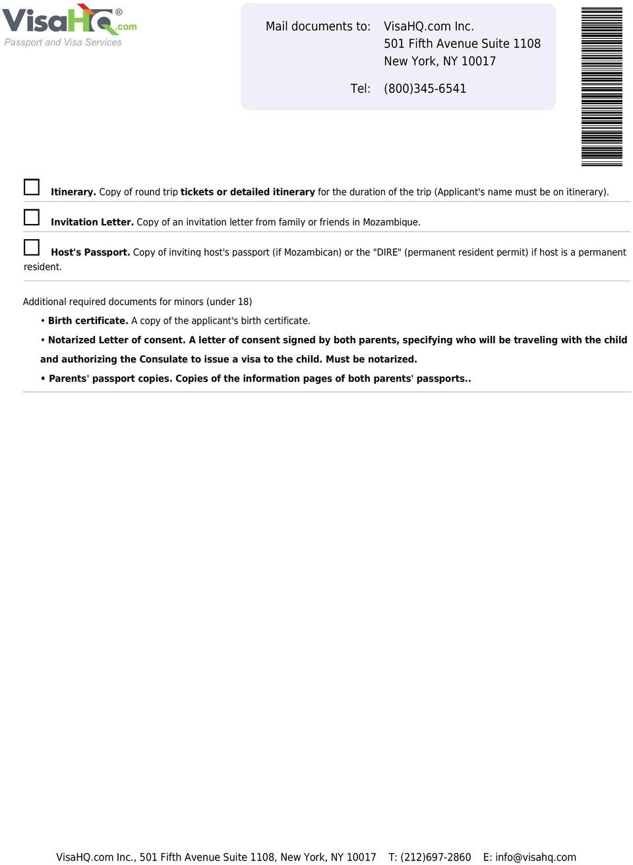 mozambique visitor visa application