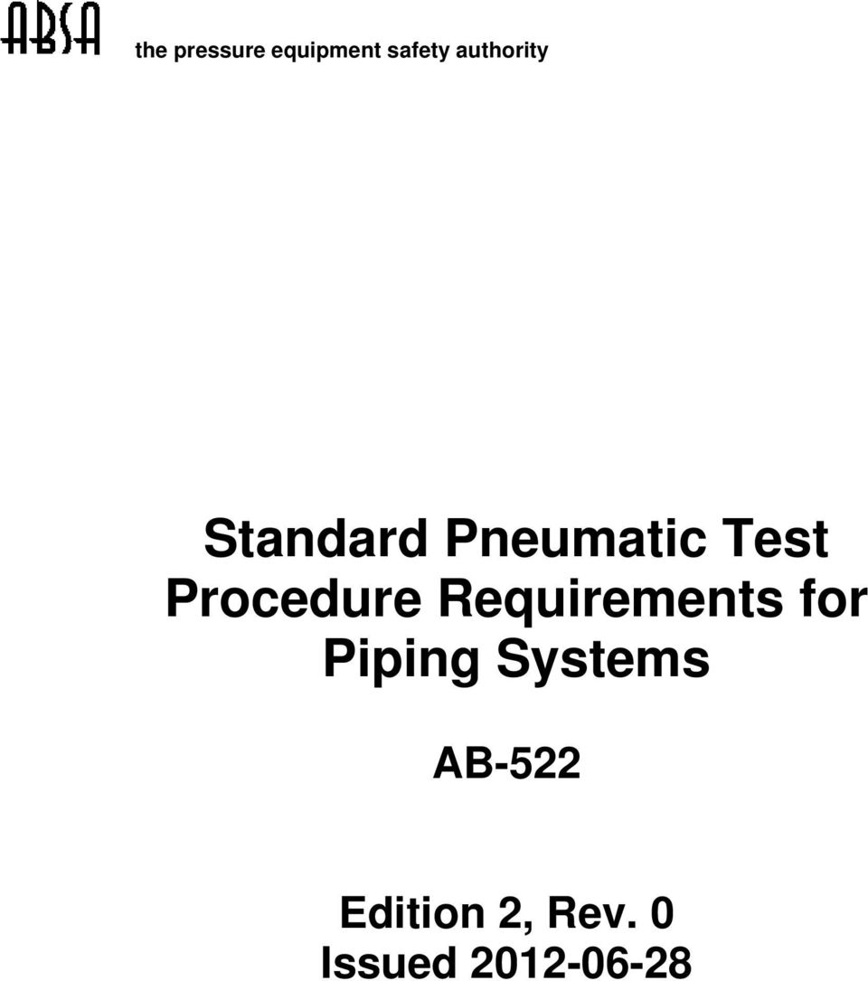 Standard Pneumatic Test Procedure Requirements for Piping