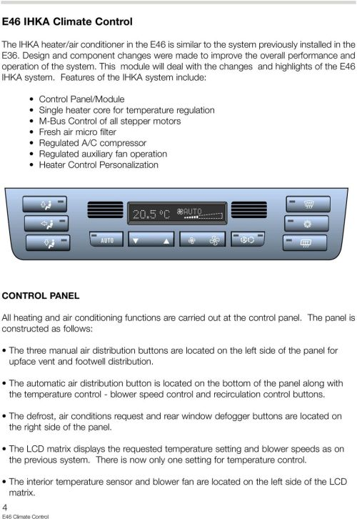 small resolution of features of the ihka system include control panel module single heater core for temperature