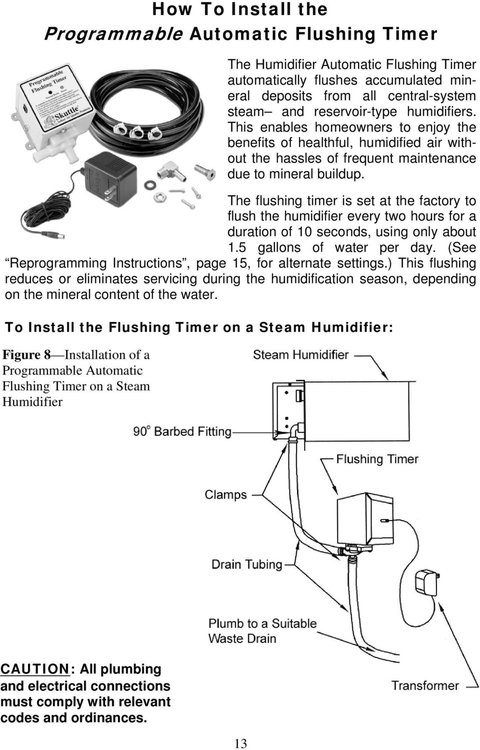 hight resolution of the flushing timer is set at the factory to flush the humidifier every two hours for
