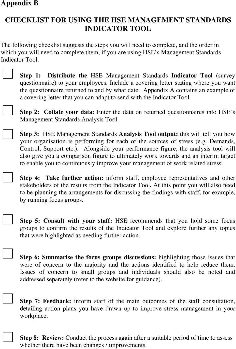 Hse Consultant Cover Letter Hse Management Standards Indicator Tool User Manual Pdf