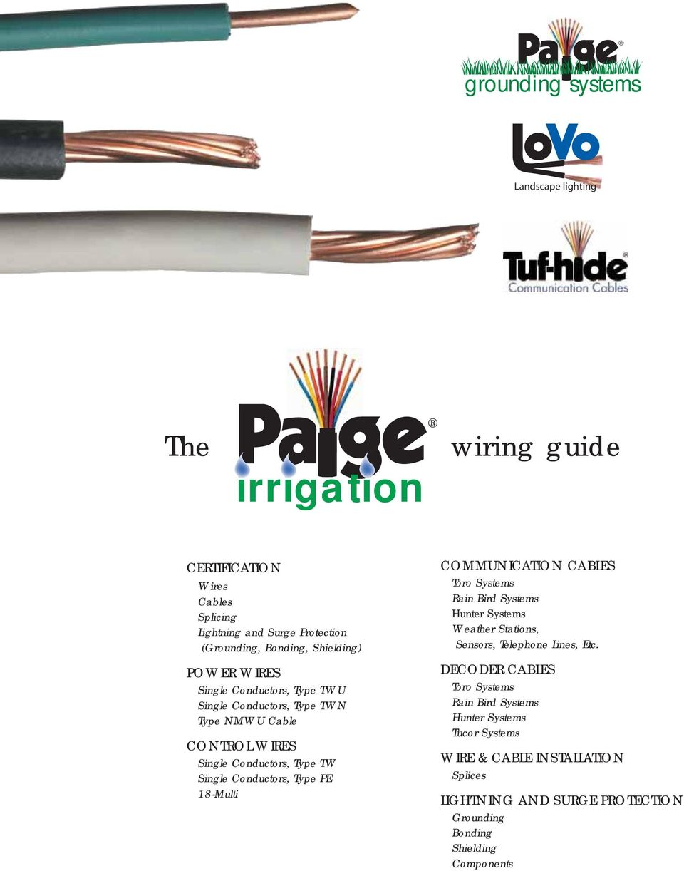 hight resolution of type pe 18 multi communication cables toro systems rain bird systems hunter systems weather stations