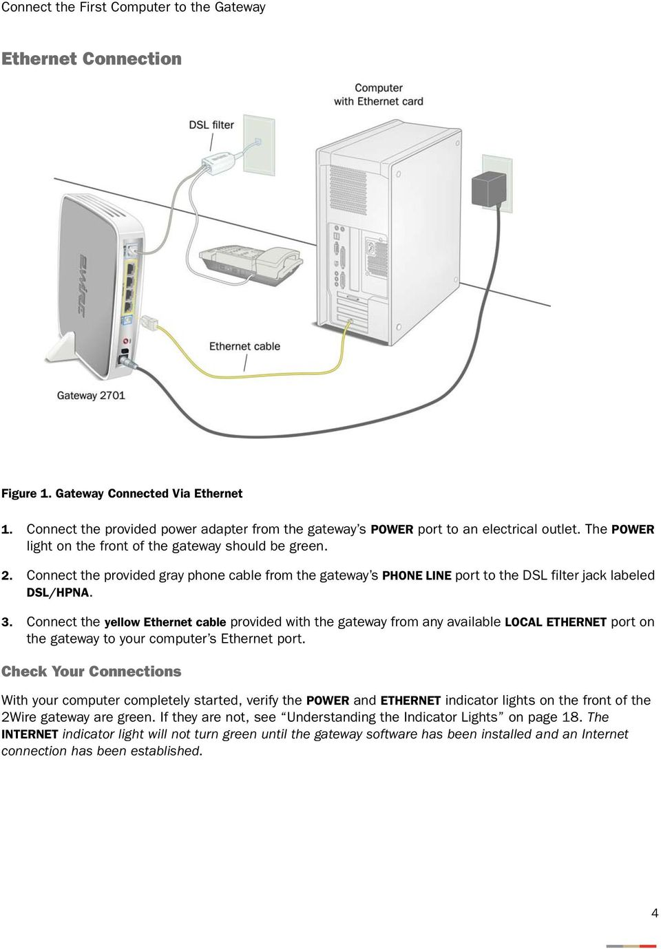 medium resolution of connect the yellow ethernet cable provided with the gateway from any available local ethernet port on