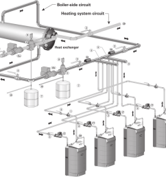 multiple boiler water piping continued figure 65 piping layout typical piping for multiple ultra [ 928 x 898 Pixel ]