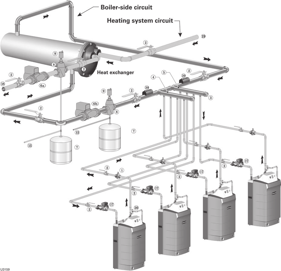 hight resolution of multiple boiler water piping continued figure 65 piping layout typical piping for multiple ultra