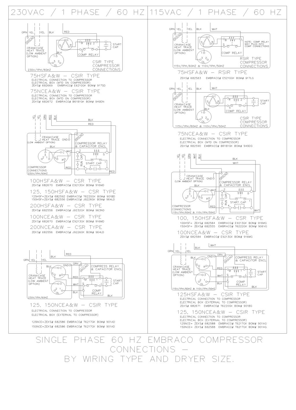hight resolution of wiring diagram single phase 60 hz embraco compressor