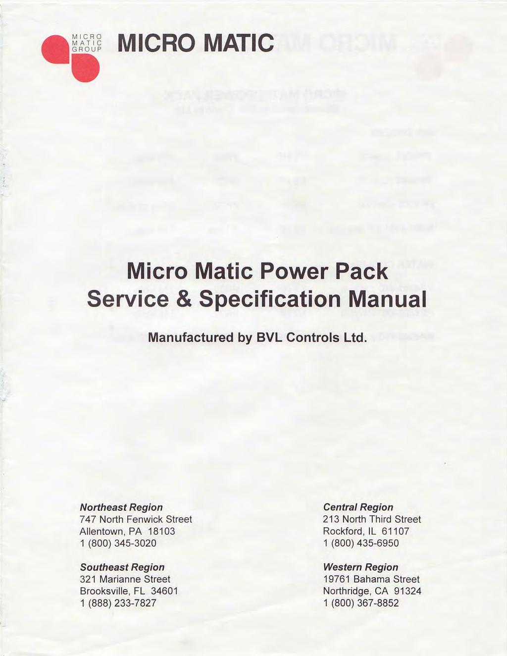 hight resolution of micro matic micro matic power pack service specification manual manufactured by bvl controls