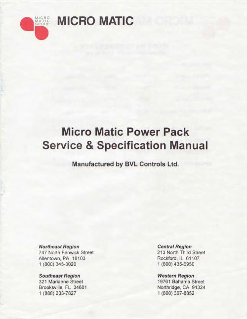 small resolution of micro matic micro matic power pack service specification manual manufactured by bvl controls