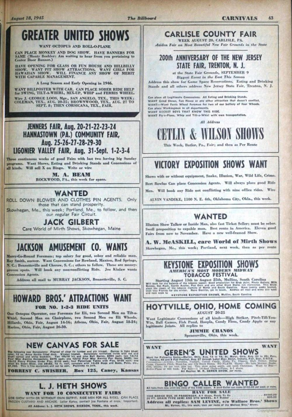 medium resolution of august 18 1945 the billboard carnivals 43 greater united shows want octopus and rollo