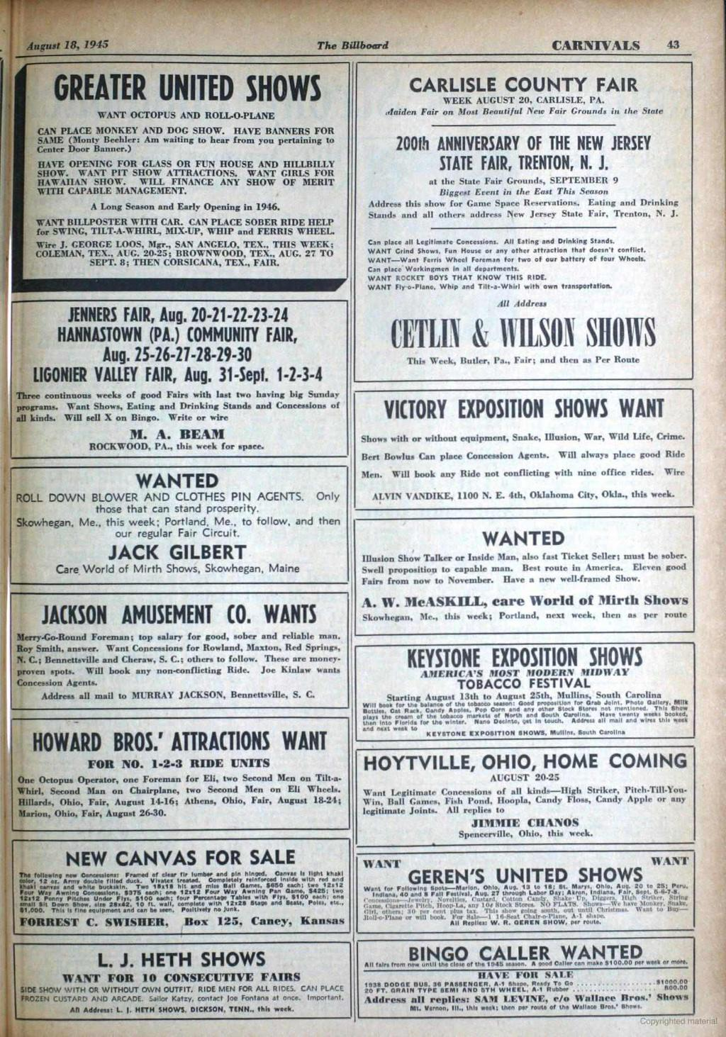 hight resolution of august 18 1945 the billboard carnivals 43 greater united shows want octopus and rollo