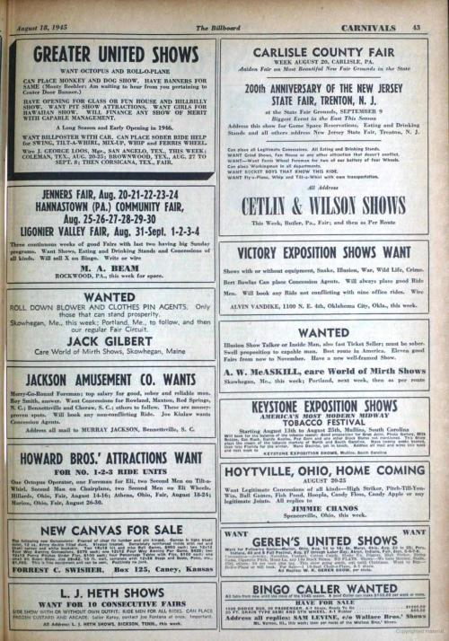 small resolution of august 18 1945 the billboard carnivals 43 greater united shows want octopus and rollo