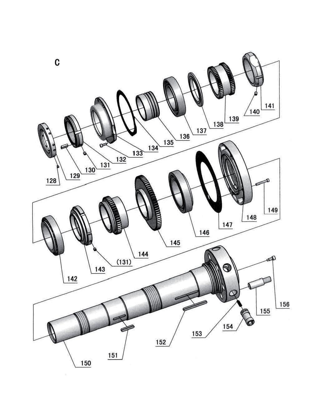 Ersatzteile spare parts d560 7 6 ersatzteilzeichnung spindelstock 5 von 8 drawing spare parts