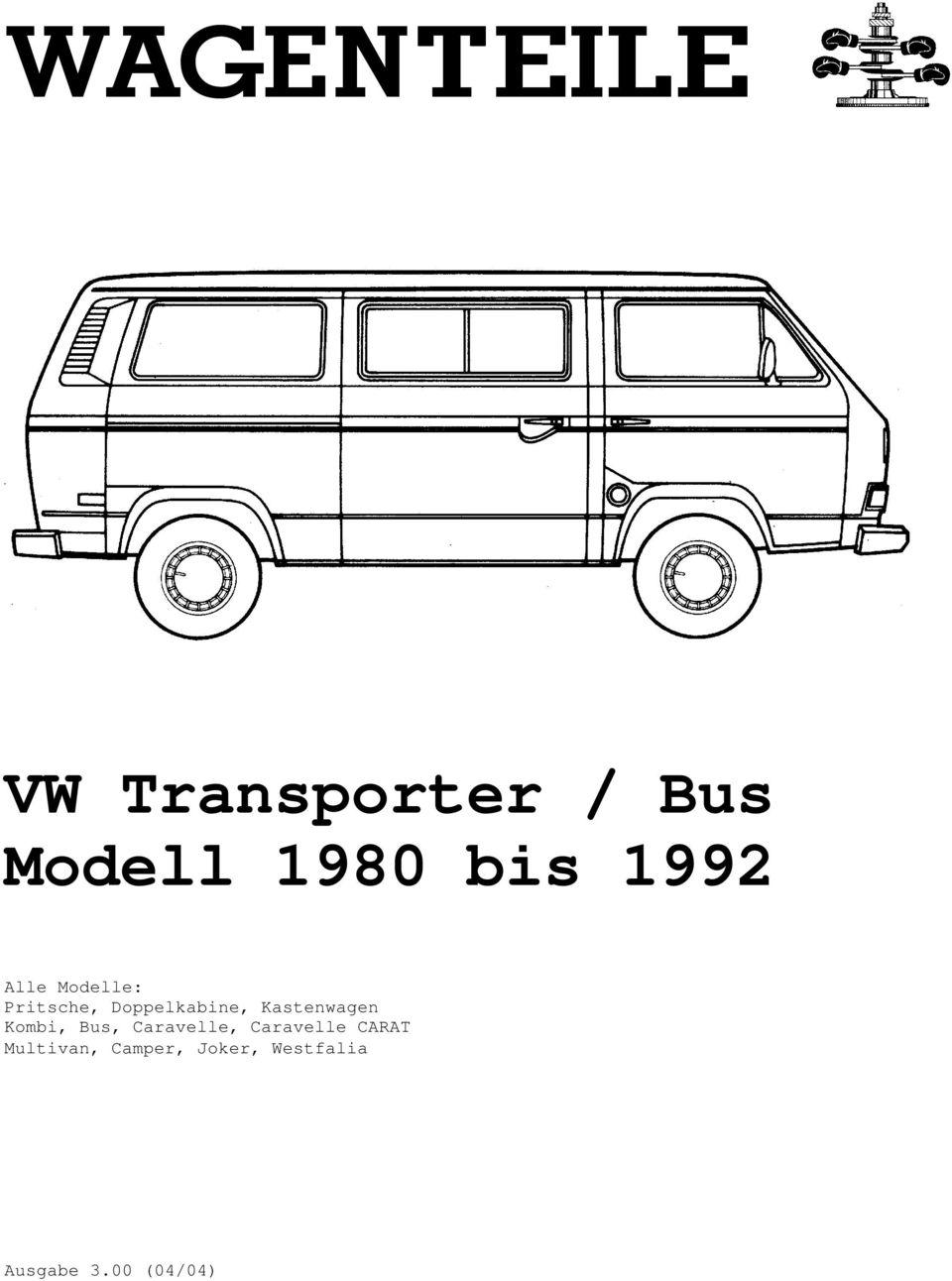 VW Transporter / Bus Modell 1980 bis PDF