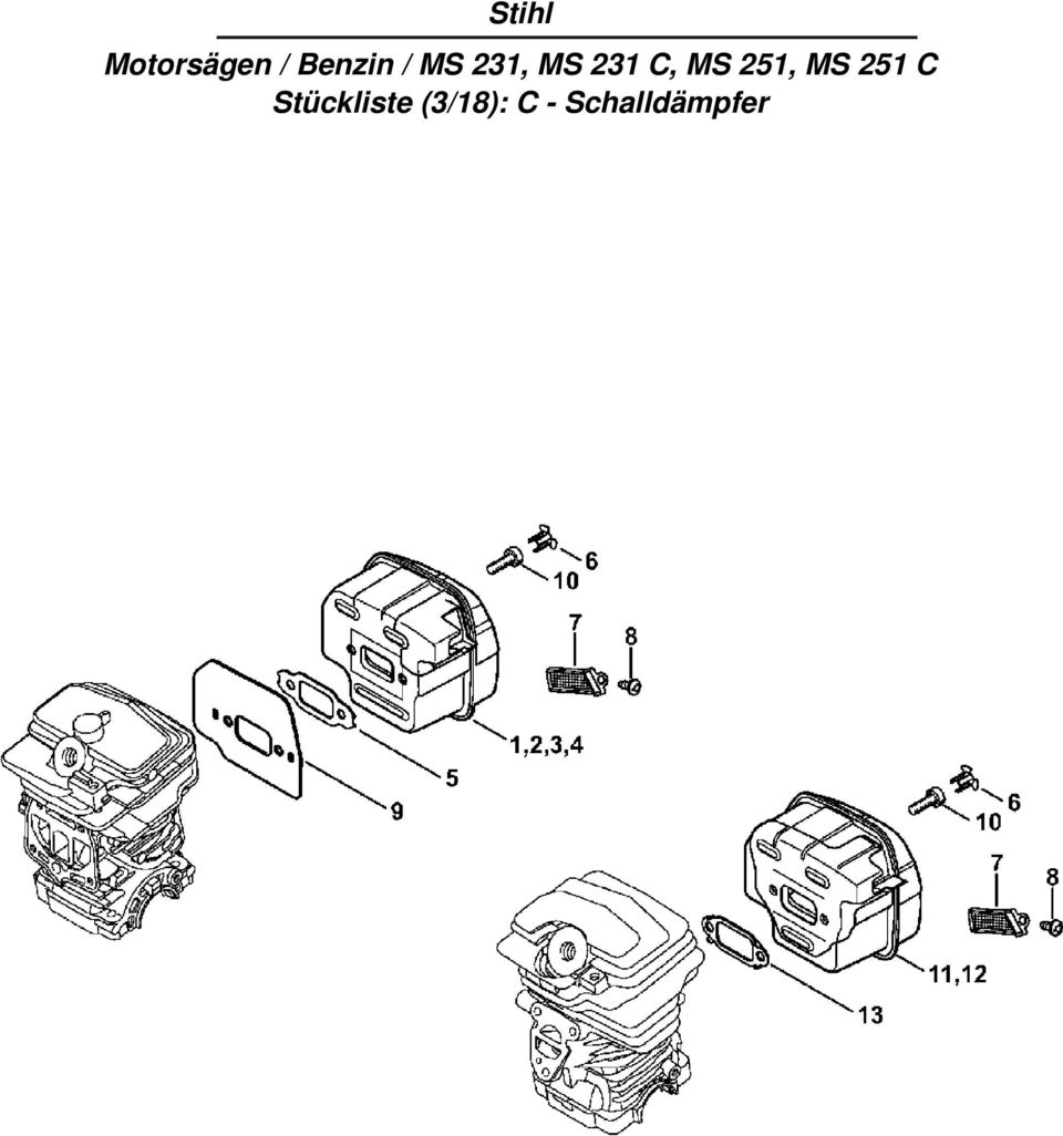 Stihl Motorsägen / Benzin / MS 231, MS 231 C, MS 251, MS