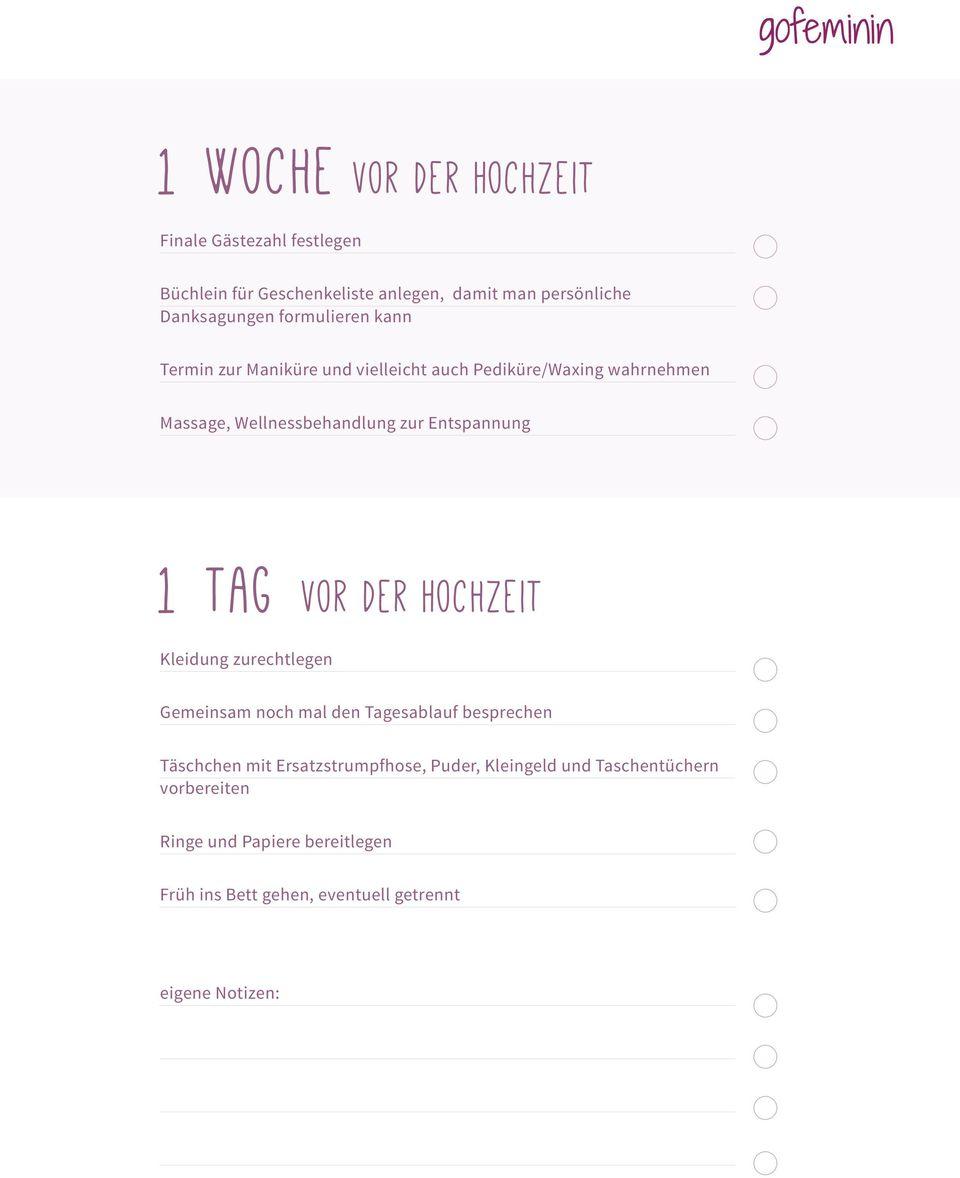 Die grosse Checkliste fr die Hochzeit  PDF