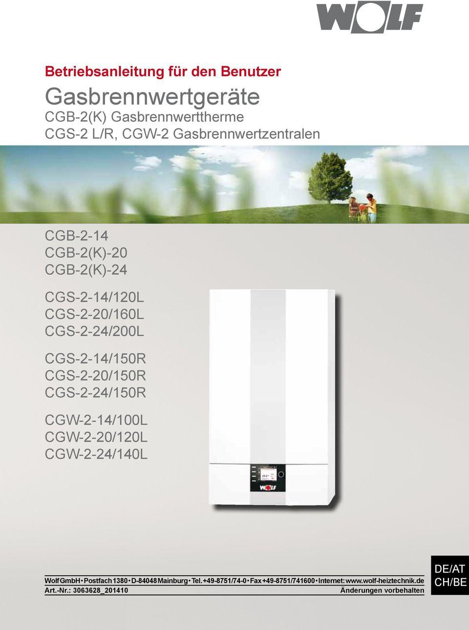 Gasbrennwertgeräte Cgb-2(K) Gasbrennwerttherme Cgs-2 L/R, Cgw-2