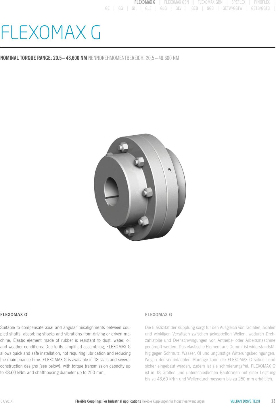 TECHNICAL DATA FLEXIBLE COUPLINGS FOR INDUSTRIAL