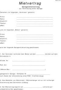 Mietvertrag Garage (Mustervorlage) - PDF