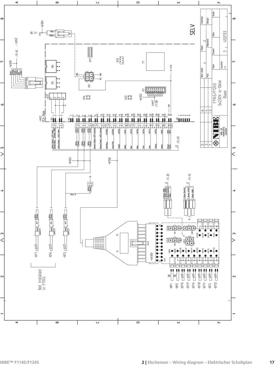 NIBE F1145/F1245. Elschema. Wiring diagram. Elektrischer