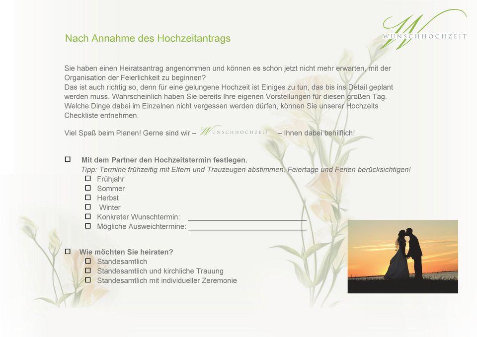 Ihre Checkliste fr eine gelungene Hochzeit  PDF
