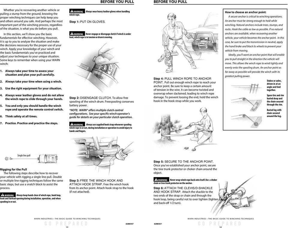 WARN WINCH LINE BASIC GUIDE TO WINCHING TECHNIQUES. of