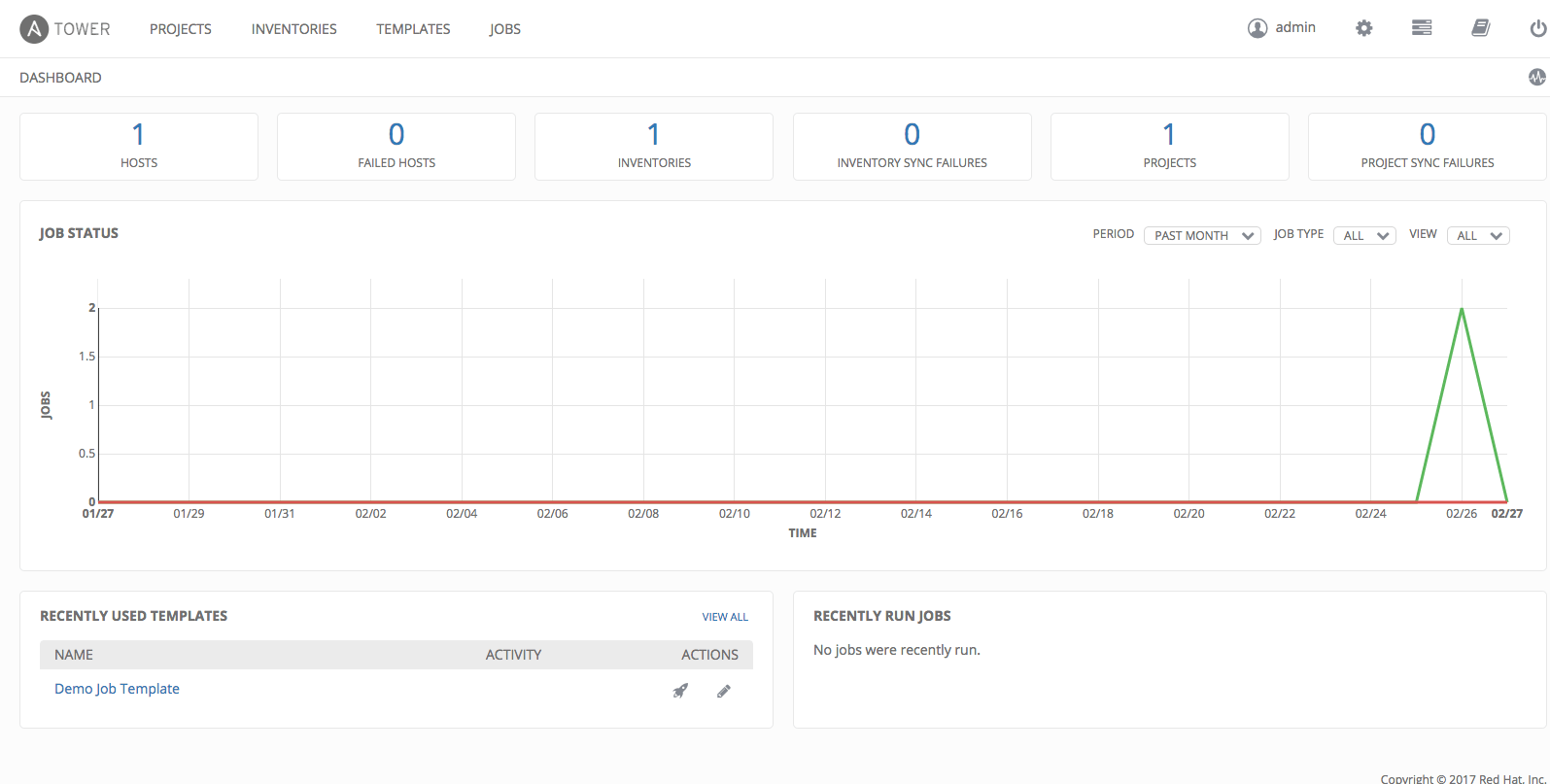 4. Examine the Tower Dashboard — Ansible Tower Quick Setup