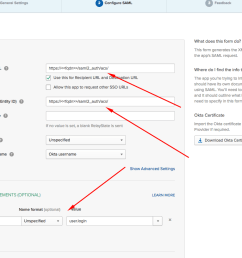 open your application settings go to the sign on tab and copy url from identity provider metadata link this will be used as the metadata url in  [ 1068 x 816 Pixel ]