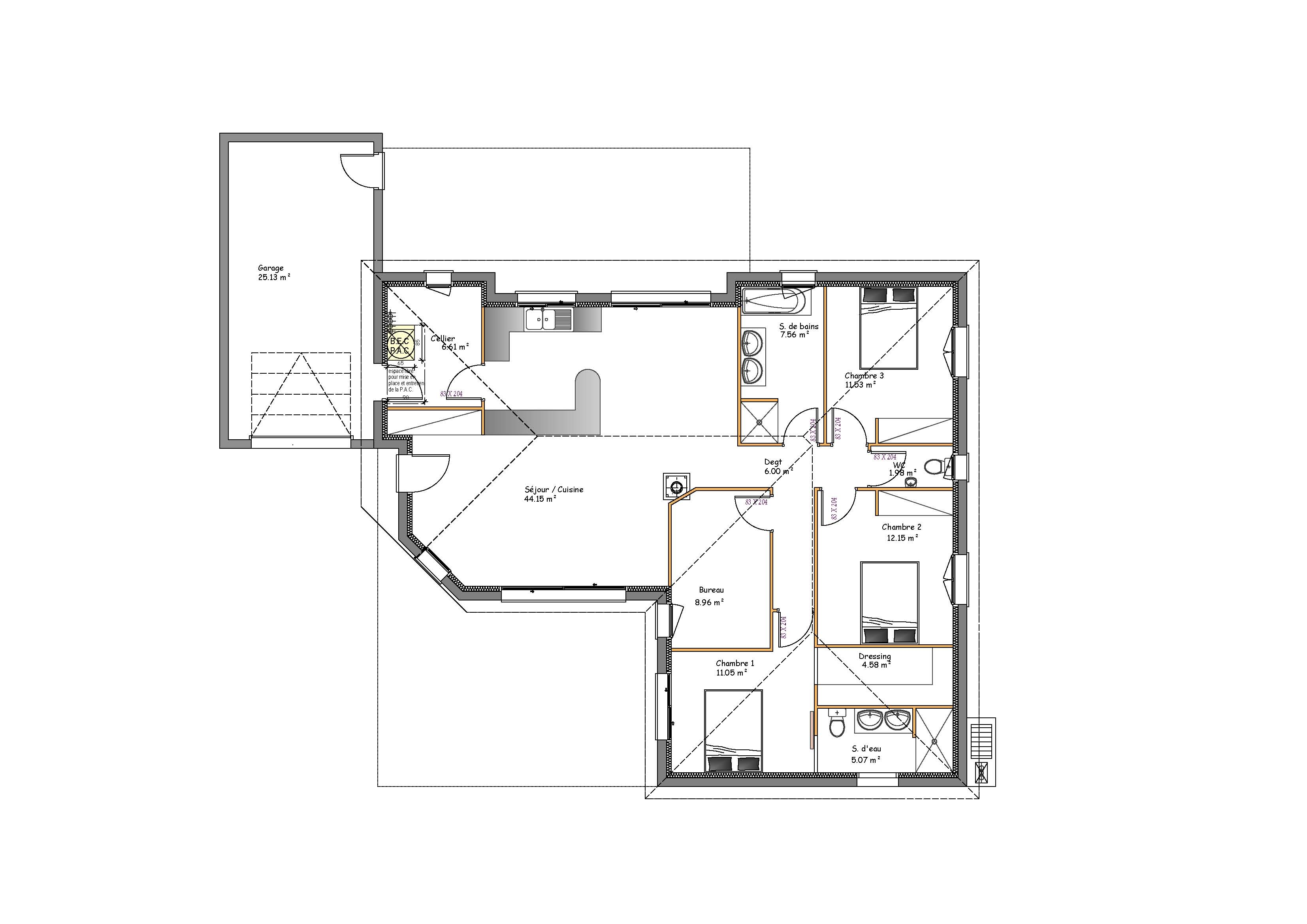 Beautiful plain pied toit plat plan maison moderne plain for Plan maison toit plat