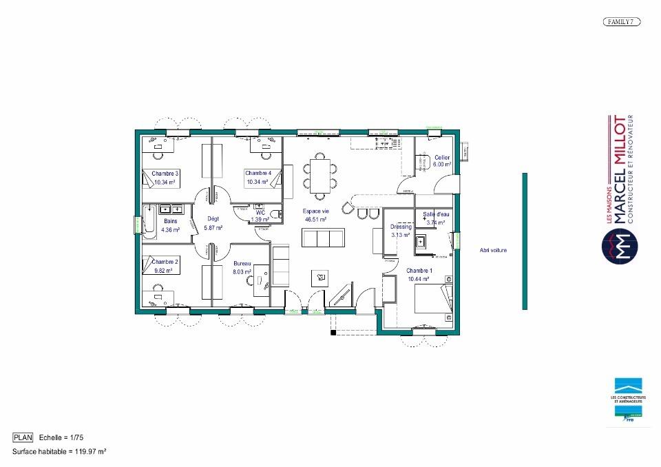 Plan De Maison Rectangulaire Plain Pied | Ventana Blog