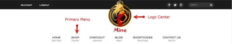 logo center primary menu left right