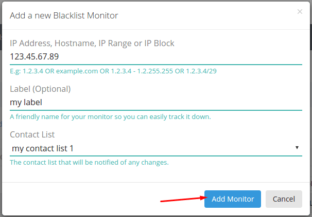 Add Your First Blacklist Monitor – HetrixTools