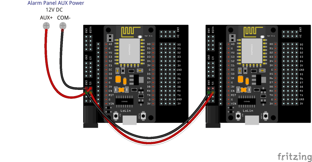 medium resolution of  one power source by powering the first board from the alarm panel or a 12v power adapter then wiring power to other boards using the extra u1 and gnd