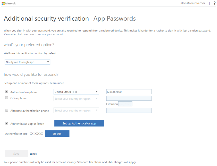 Change your two-factor verification method and settings