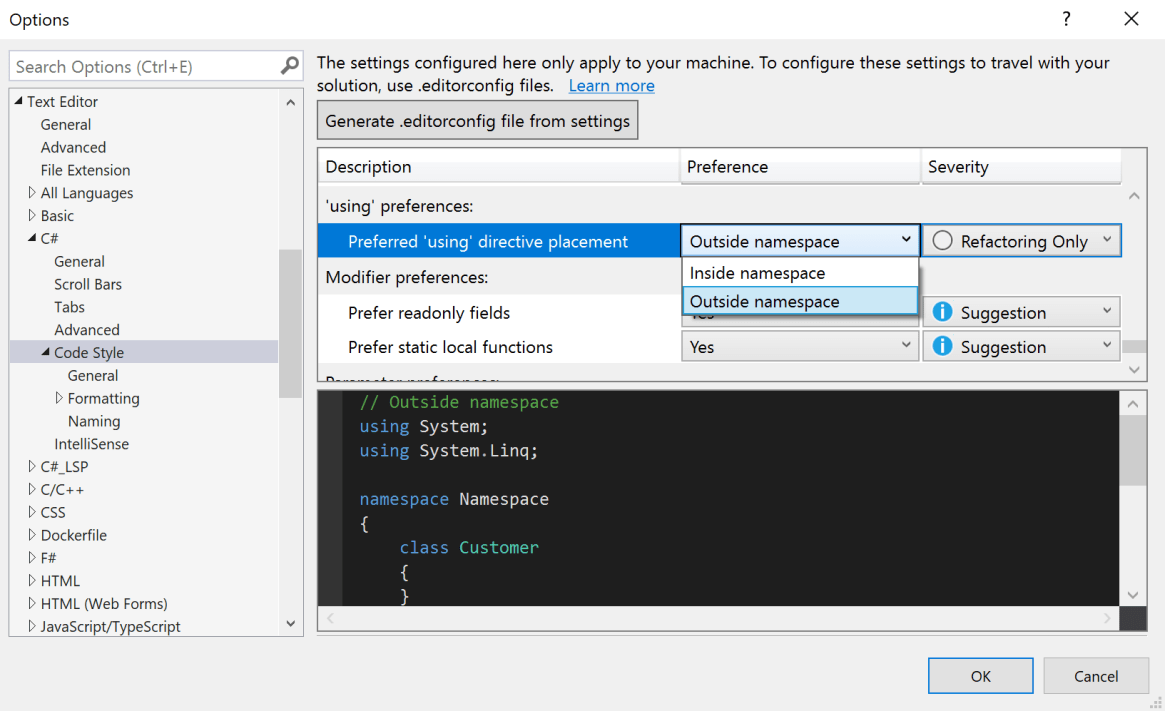 Tools Options setting for usings inside/outside namespace