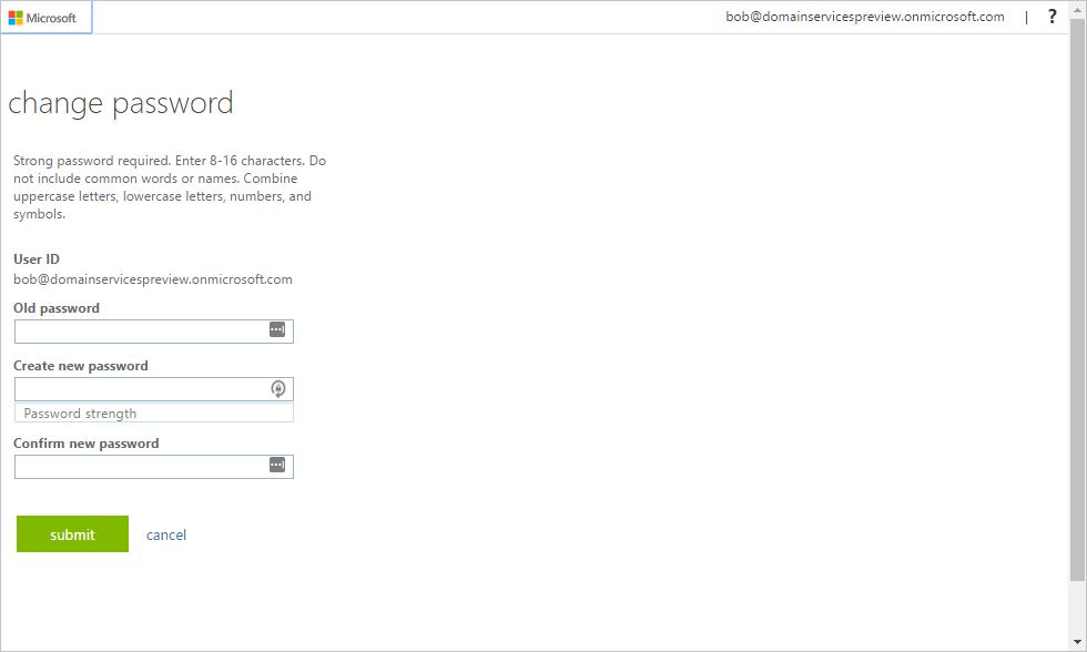 Azure Active Directory Domain Services: Enable password