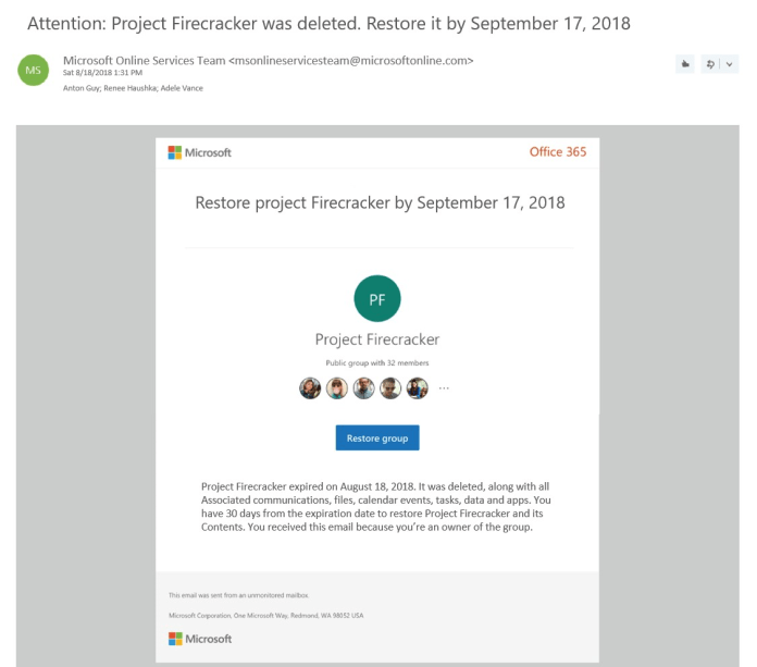 Group deletion email notification