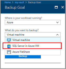 Select SQL Server in Azure VM for the backup