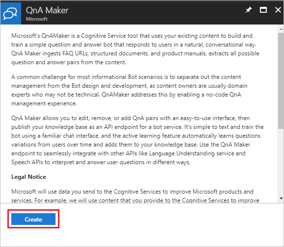 Create a new QnA Maker service
