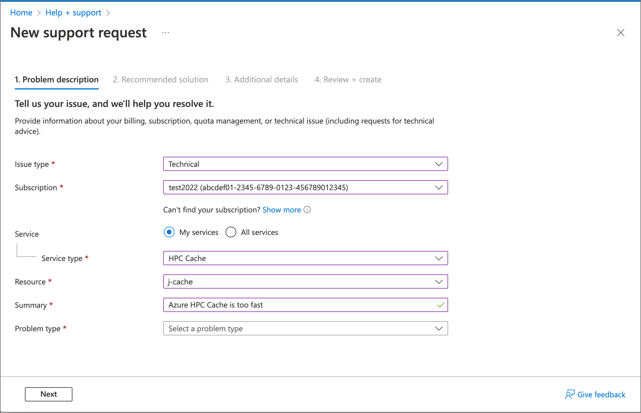 Open a support ticket for Azure HPC Cache | Microsoft Docs