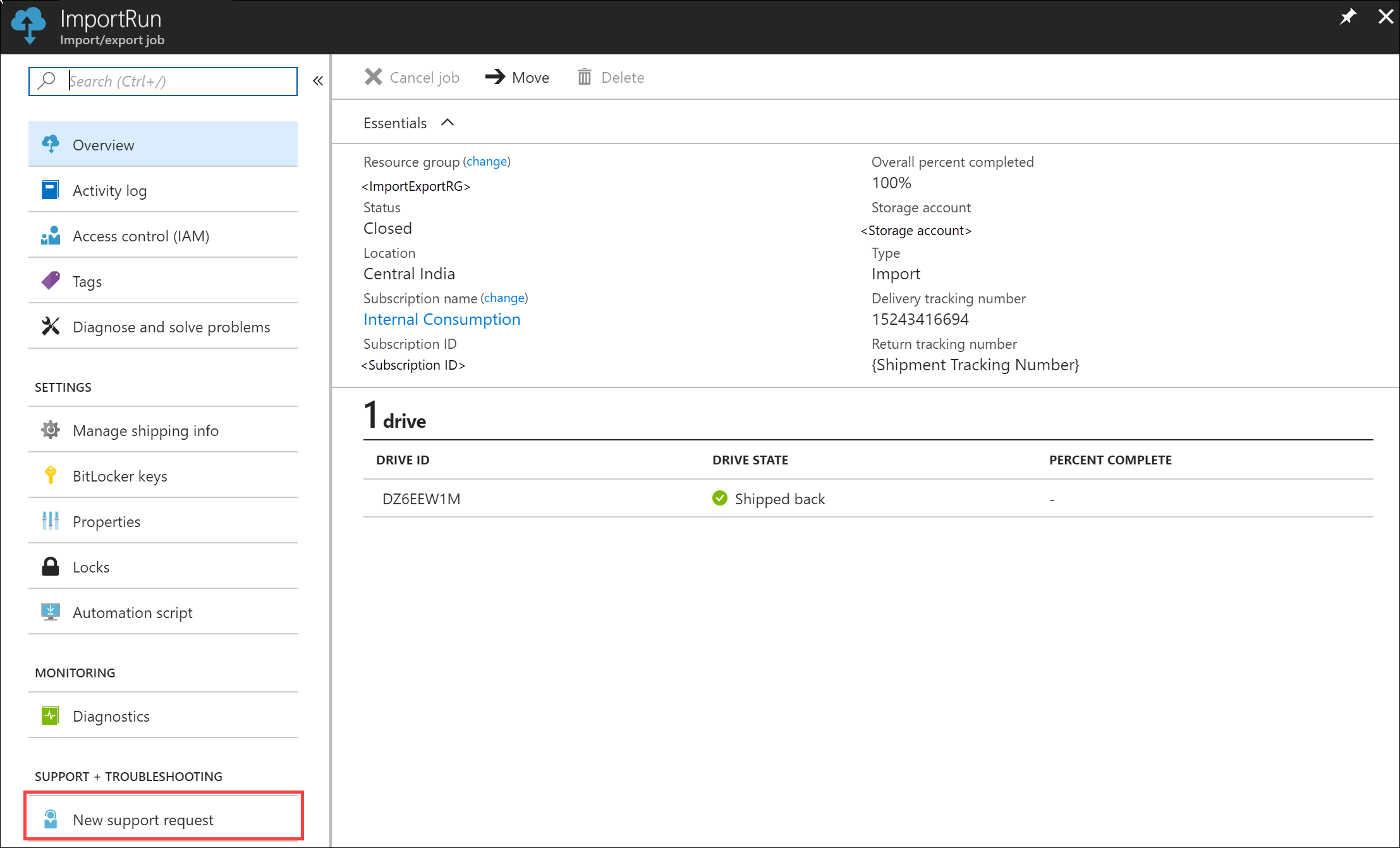 Create Support ticket or case for Azure Import/Export job | Microsoft Docs