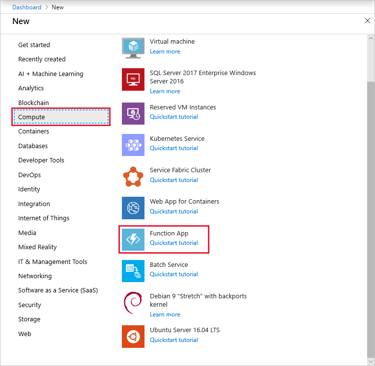 Create a function app in the Azure portal