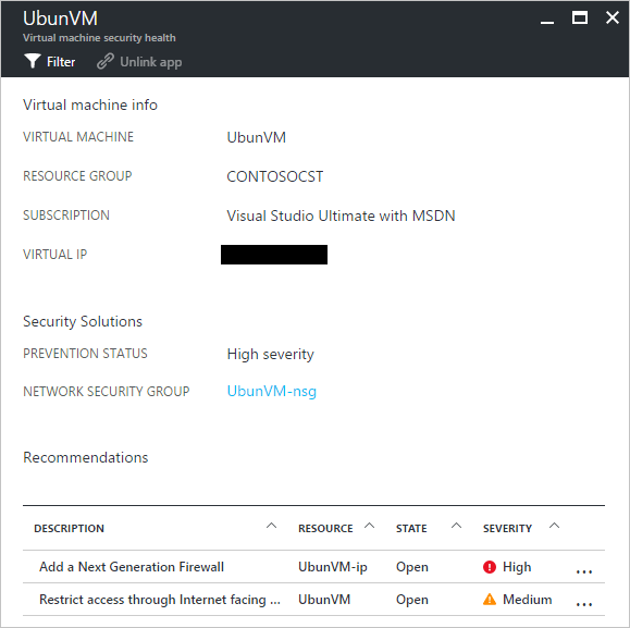 Azure Security Center and Azure Virtual Machines with