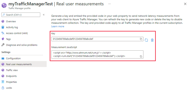 Real User Measurements to Azure Traffic Manager with web
