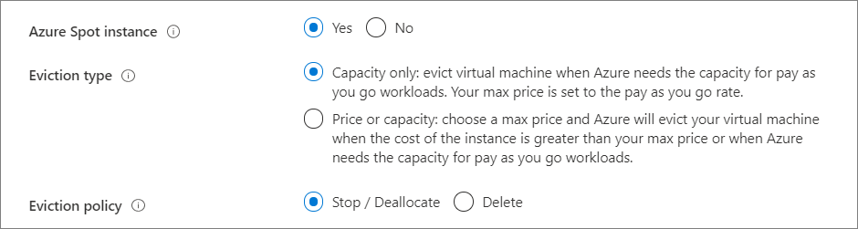 Screen capture for choosing yes, use an Azure spot instance