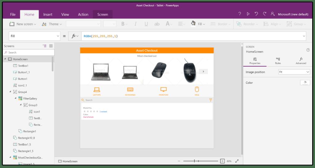A screenshot of a Canvas app