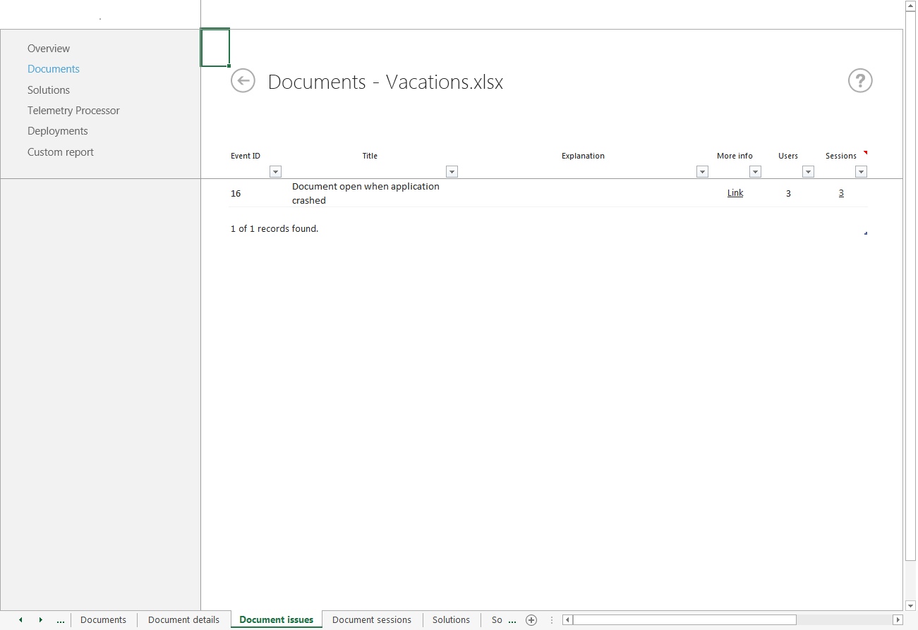 Office Telemetry Dashboard Worksheet Reference