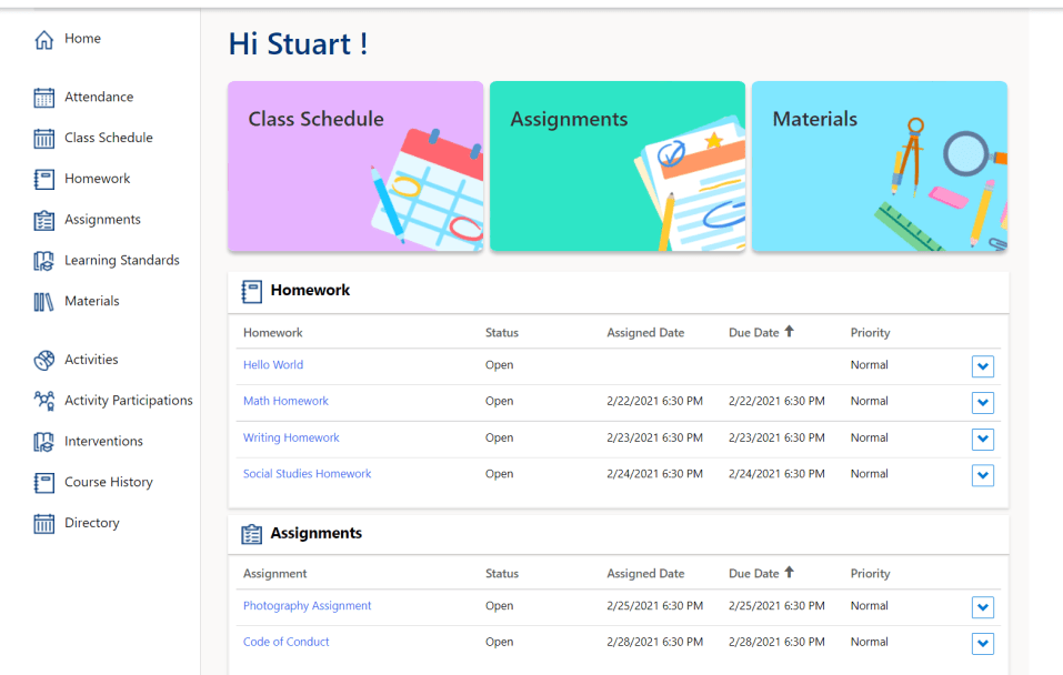 Education accelerator: Parent and student portal - view assignments