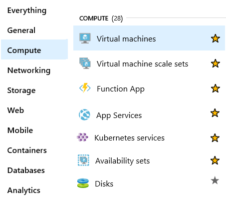 Screenshot of the Azure portal compute services page that includes VMs and containers.