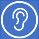 A stylized image showing an ear for hearing