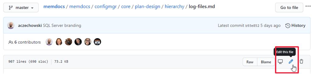Screenshot of GitHub source file header